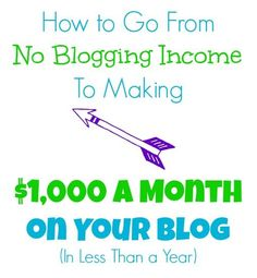How to go from NO blogging income to $1,000 a month on your blog in less than a year.