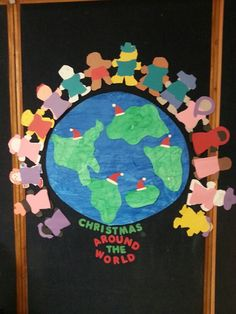 christmas around the world bulletin board in my prek classroom