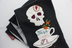 Hand embroidered scarf - Mexican Tea Party collection