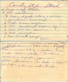 Country Style Steak - hand written has to be good amiright? Country Style Steak - hand written has to be good amiright? Retro Recipes, Old Recipes, Cookbook Recipes, Vintage Recipes, Steak Recipes, Cooking Recipes, Family Recipes, Cooking Ideas, Country Style Steak