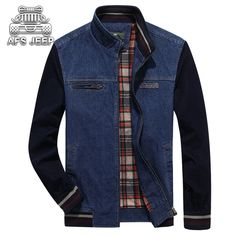 54.99$  Watch now - http://ali2mi.worldwells.pw/go.php?t=32688534573 - AFS JEEP Homme Casual Blue Denim Jacket Plus Size Men Autumn Winter Fashion Cotton Jean Jacket Men's Jackets And Coats 54.99$