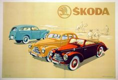 1949 Skoda, Czech car vintage advert poster Motorcycle Posters, Kustom Kulture, Car Advertising, Small Cars, Illustrations And Posters, Vintage Advertisements, Cars Motorcycles, Luxury Cars, Touring