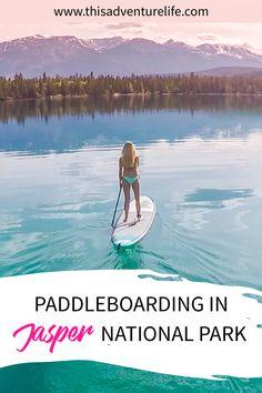 Paddleboarding in Jasper National Park, Alberta. Monument National Park, National Parks, Life Is An Adventure, Adventure Travel, Jasper Canada, Round The World Trip, Paradise Travel, Paddleboarding, Travelogue
