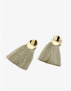 Drop earrings from Lizzie Fortunato in Light Moss. Gold-plated brass studs with pale green tassels. Post back with clutch closure. Made in USA with imported materials. Sold as a set.  • Gold-plated brass • Silk tassels • Made in USA