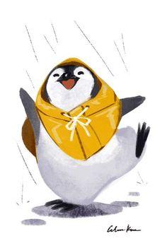 Artwork by Celine Kim a penguin Pinguin Illustration, Cute Illustration, Cute Drawings, Animal Drawings, Pinguin Drawing, Penguin Art, Happy Penguin, Baby Penguins, Animal Design