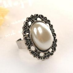 Faux-Pearl Ring  Silver - One Size