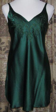 Victoria's Secret Silk Nightie Deep Green Gown Sm Embroidered Bodice Gold Label #VictoriasSecret #Gowns