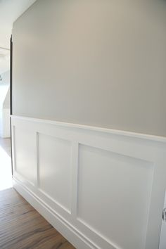 Wall color is Benjamin Moore Stonington Gray. Wainscoting is Benjamin Moore Simply White Indoor Paint Colors, Room Paint Colors, Interior Paint Colors, Paint Colors For Home, House Colors, Paint Colors For Hallway, Wall Colors For Bedroom, Gray Living Room Walls, Basement Wall Colors
