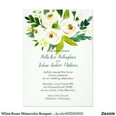 Shop White Roses Watercolor Bouquet Wedding Invitation created by elizWEDDINGS. Photo Wedding Invitations, Wedding Invitation Design, Watercolor Wedding Invitations, Floral Invitation, Wedding Events, Our Wedding, Botanical Wedding, Casual Wedding, Celebrity Weddings