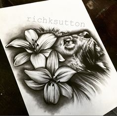 Lion and Lilly flowers tattoo design