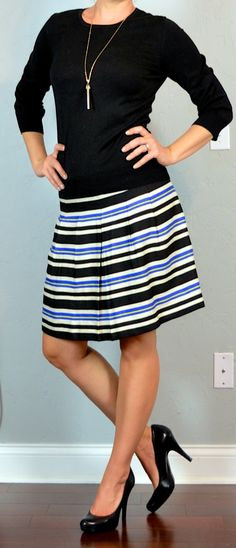 Outfit Posts: outfit post: black sweater, striped blue & yellow a-line skirt, black pumps