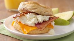 These sandwiches make eating a satisfying breakfast at home easier than ever!  I made these and they are very good but I am watching my cholesterol so second time I used turkey bacon and fat free cheddar slices...very good that way and no fat worries.