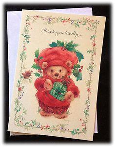 Hallmark Vintage Mary Hamilton Christmas Bear Thank You Kindly Card Envelope   eBay
