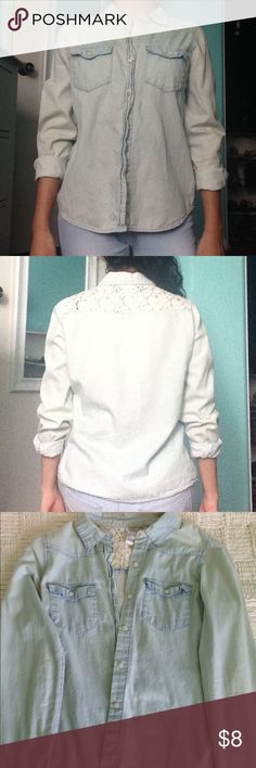 Forever 21 Denim Top Light wash denim button up top with lace detailing on the back. Worn a few times, still in good condition. Forever 21 Tops Button Down Shirts