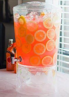 The TomKat Studio: Alexa Cate's Pink and Orange Birthday Party :: Sweet Customers Orange Birthday Parties, Orange Party, Yellow Birthday, 18th Birthday Party, 18 Birthday Party Decorations, Paris Birthday, Colorful Birthday, Strawberry Lemonade, Pink Lemonade