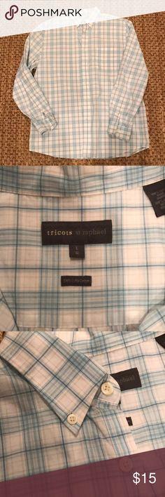 Men's button down shirt Light blue and white plaid mens casual button down. Tricot st Raphael tricot st raphael Shirts Casual Button Down Shirts
