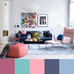 Cozy and Colorful Pastel Living Room Interior Style 14 Pastel Living Room, Cozy Living Rooms, Living Room Interior, Home Living Room, Living Room Designs, Living Room Decor, Blue And Pink Living Room, Dining Room, Inspiration Design