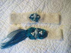 Seaside Garter Set Teal Peacock Garter by BijouxBridalChicago