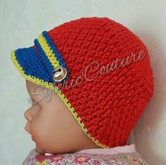 """Casquette façon """"Oui-Oui"""" taille 3/6 mois Oui Oui, Facon, Creations, Crochet Hats, Boutique, Facebook, 6 Months, Crochet Baby, Cap"""