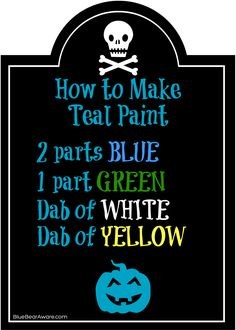 How to make teal paint in honor of food allergy awareness at Halloween! If your blue and green paints are on the darker side, try more yellow. #tealpumpkinproject www.bluebearaware.com