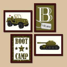 ★ARMY Wall Art MILITARY Boy Bedroom Wall Art Prints Army Tank Jeep Solider Prints Boot Camp Set of 4 Boy Decor ★Includes 4 unframed prints ★FRAMES