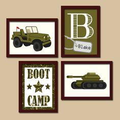 Conjunto de Boot Camp Soldado Ejército pared arte, fotos de dormitorio de niño militar, lona o impresiones ejército tanque Jeep de niño 4