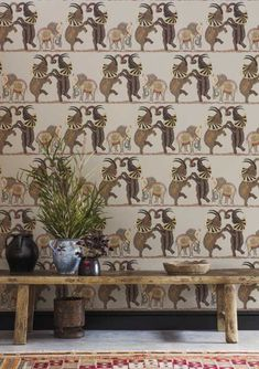 Our magnificent Safari Dance Wallpaper by Cole & Son forms part of the new Ardmore Collection. This beautifully patterned wallpaper features a trio of hand-drawn elephants dancing horizontally across the African Plains. Dance Wallpaper, Linen Wallpaper, Photo Wallpaper, Of Wallpaper, Designer Wallpaper, Cottage Wallpaper, Stripe Wallpaper, Safari, Cole Son