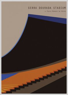 """Serra Dourada Stadium"", by Paulo Mendes Da Rocha (architect), Acrylic on Canvas - Illustration and GraphicArt by André Chiote (b. 1978, Portugal)."
