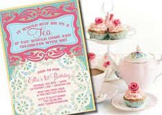 DIY Printable Vintage Tea Party Birthday Invitation