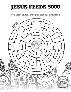 jesus feeds 5000 bible mazes with just enough challenge to make it fun your kids