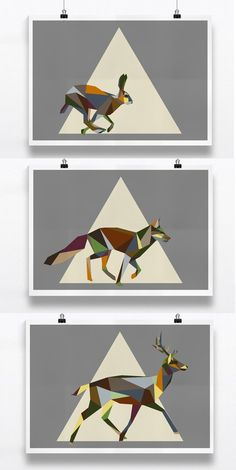 Set of 3 Mixed Geometric Woodland Animal Prints, Earth tones, Irish Animal Prints. Fox, Deer and Hare Art Print