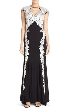 Betsy & Adam Embroidered Mesh & Jersey Mermaid Gown