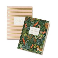 Featuring an adventurous jungle illustration on one and classic metallic and blush stripes on the other, this set of notebooks is the perfect gift for almost any girl on the go. Includes two books wit