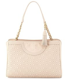 """Fleming Diamond-Quilted Shoulder Bag by Tory Burch. Tory Burch diamond-quilted leather shoulder bag with golden hardware. Woven chain and leather shoulder straps, 8.8"""" d..."""