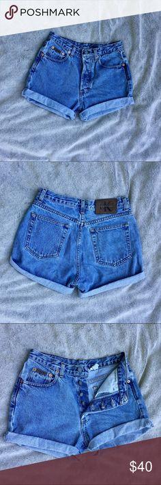 Vintage Calvin Klein high waisted shorts Vintage Calvin Klein high waisted button down shorts. Excellent condition Calvin Klein Shorts Jean Shorts