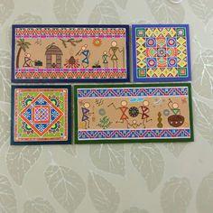 Madhubani Art, Madhubani Painting, Worli Painting, Fabric Painting, Clay Wall Art, Simple Canvas Paintings, Handmade Envelopes, Indian Folk Art, Indian Art Paintings