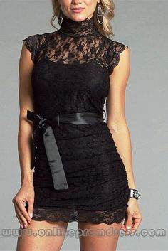 Sexy High Neck Corset Lace Mini Black Cocktail Dresses Sashed