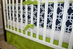 navy green and pick nursery | Navy and Green crib set (Etsy) | For the Kids (One Day)