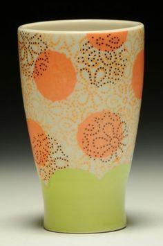 Meredith Host, Dot Dot Floral Tumbler. Porcelain, wheel thrown, screen printed underglaze, iron oxide decals, multiple firings