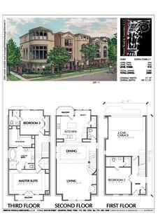 Town House Plans, Family House Plans, Craftsman House Plans, Modern House Floor Plans, Narrow Lot House Plans, Plan Ville, Villa Plan, Townhouse Designs, Vintage House Plans