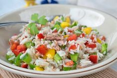Thunfischsalat mit Reis - Rezept Food Inspiration, Barbecue, Low Carb, Grains, Salads, Clean Eating, Rice, Bobs, Dressings