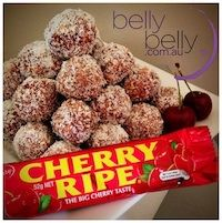Cherry Ripe balls - great as a gift (if they make it that far! BellyBelly's FAMOUS Cherry Ripe Balls recipe since 2010 - hide in the laundry and don't share them. Xmas Food, Christmas Cooking, Thermomix Desserts, Dessert Recipes, Cake Recipes, Easy Desserts, Bellini Recipe, Christmas Treats, Christmas Recipes