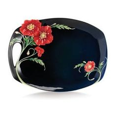 Franz Porcelain SERENITY POPPY FLOWER LARGE TRAY FZ02472 New In Box MINT