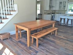 A reclaimed oak table made with two matching benches works perfectly on our reclaimed Kendall Road Flooring in this customers home. Oak, Table, Custom Dining Tables, Rustic Dining Table, Flooring, Furniture, Paneling, Home Decor, Reclaimed Oak