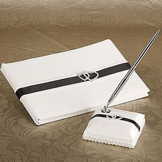Deluxe Loving Hearts Wedding Guest Book And Pen Set – AUD $ 30.94