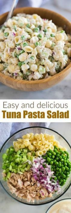 This Tuna Pasta Salad with shell noodles peas tuna celery and a creamy Greek yogurt sauce is fast healthy and a dish your whole family can enjoy! #healthy #cold #easy #greekyogurt #recipes #pasta #salad #casserole #creamy #best #classic #peas #mayon