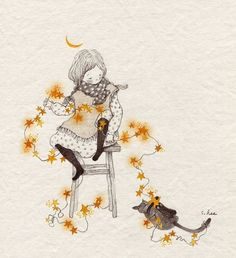 Find images and videos about girl, text and cat on We Heart It - the app to get lost in what you love. Art And Illustration, Illustration Mignonne, Illustrations, Art Fantaisiste, Art Mignon, Korean Artist, Whimsical Art, Art Design, Oeuvre D'art