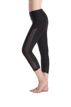 9adaae2ec5e8a Lotsyle Women s Mesh Panel Print Workout Sports Yoga Capri Pants Leggings  (S