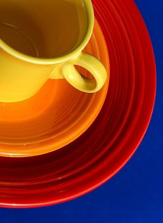 Tangerine bowl & sunflower mug & scarlet plate - these are my Fiestaware colors