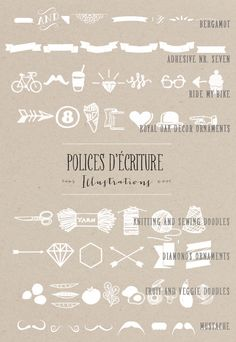 Good assortment of hand-drawn icons.  includes links to download.  some free, some not   |   La mariee aux pieds nus